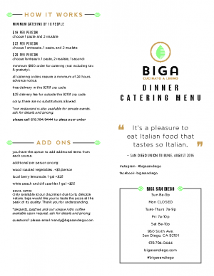 BIGA Dinner Catering Menu
